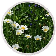 Daisy Patch  Round Beach Towel