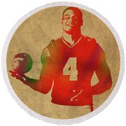 Dak Prescott Nfl Dallas Cowboys Quarterback Watercolor Portrait Round Beach Towel
