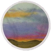 Dakota Sunset Glow Round Beach Towel