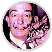 Dali With Ocelot And Cane Round Beach Towel