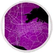 Dalian Street Map - Dalian China Road Map Art On A Purple Backgro Round Beach Towel