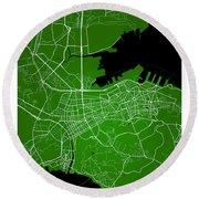 Dalian Street Map - Dalian China Road Map Art On Green Backgro Round Beach Towel