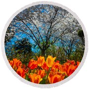 Dallas Arboretum Tulips And Cherries Round Beach Towel
