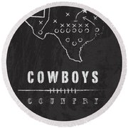 Dallas Cowboys Art - Nfl Football Wall Print Round Beach Towel by Damon Gray