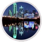 Dallas Dark Blue Night Round Beach Towel