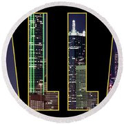 Dallas Letter Skyline 013018 Round Beach Towel