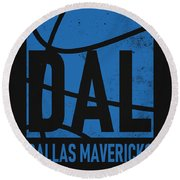 Dallas Mavericks City Poster Art Round Beach Towel