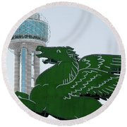 Dallas Pegasus Reunion Tower Green 030518 Round Beach Towel