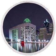 Dallas Skyline From City Hall Round Beach Towel