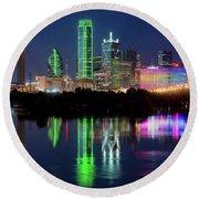 Dallas Skyline Reflection 91317 Round Beach Towel