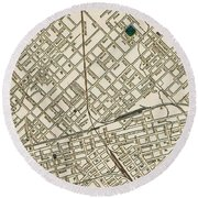 Dallas Texas Map 1899 Round Beach Towel