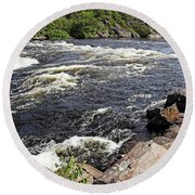 Dalles Rapids French River I Round Beach Towel