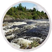 Dalles Rapids French River II Round Beach Towel