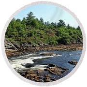 Dalles Rapids French River Ontario Round Beach Towel