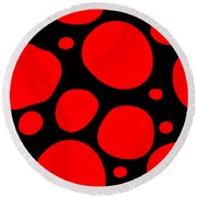 Dalmatian Pattern With A Black Background 02-p0173 Round Beach Towel