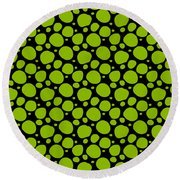 Dalmatian Pattern With A Black Background 09-p0173 Round Beach Towel