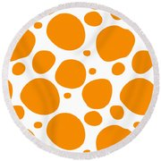 Dalmatian Pattern With A White Background 03-p0173 Round Beach Towel