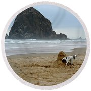 Dalmatian Peeing On Sandcastle Round Beach Towel