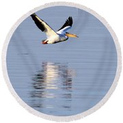 Salton Sea Flight Photograph Round Beach Towel