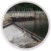 Dam Repairs  Along The Androscoggin River Round Beach Towel