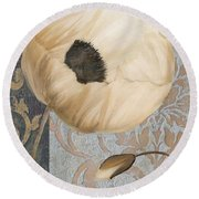 Damask Poppy Round Beach Towel