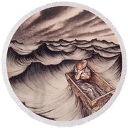 Danae And Her Son Perseus Put In A Chest And Cast Into The Sea Round Beach Towel