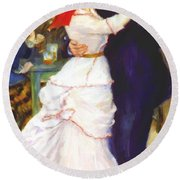 Dance At Bougival 1883 Round Beach Towel