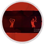 Dance In Nothing But Red By Mb Round Beach Towel