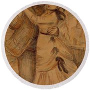 Dance In The Country 1883 Round Beach Towel