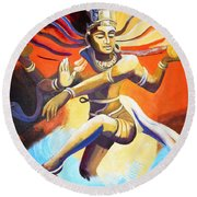 Dance Of Shiva Round Beach Towel
