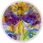 Dance Of The Rainbow  Round Beach Towel