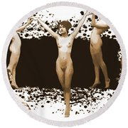 Dance Of The Seven Nudes Round Beach Towel