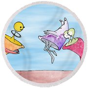 Dance Party Monsters Watercolor Round Beach Towel