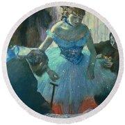 Dancer In Her Dressing Room Round Beach Towel by Edgar Degas