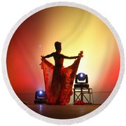 Dancer In The Shadows Round Beach Towel