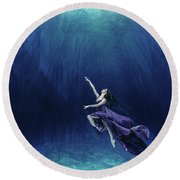 Dancer In The Water  Round Beach Towel