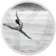 Dancer On Beach Round Beach Towel