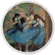 Dancers In Blue Round Beach Towel by Edgar Degas