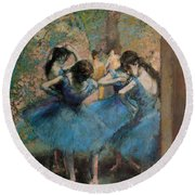 Dancers In Blue Round Beach Towel by Edgar Degas