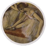 Dancers In Repose Round Beach Towel by Edgar Degas