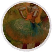 Dancers Wearing Green Skirts Round Beach Towel by Edgar Degas