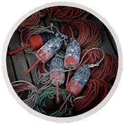 Dances With Lobsters Round Beach Towel