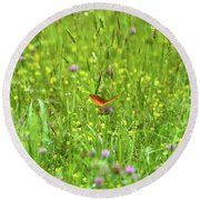 Dancing Among The Flowers Round Beach Towel