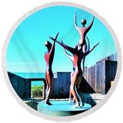 Dancing At Sea Ranch Round Beach Towel