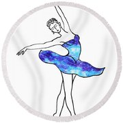 Dancing Ballerina Frosted Blue Round Beach Towel
