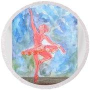 Dancing Ballerina Round Beach Towel