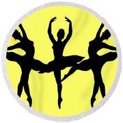 Dancing Ballerinas Silhouette Round Beach Towel