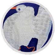 Dancing Bird Round Beach Towel