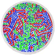 Dancing Dogs After Keith Haring 1958-90 Round Beach Towel