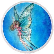 Dancing Fairy In Blue Sky Round Beach Towel